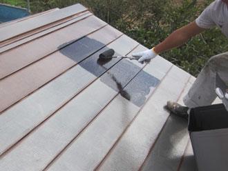 香取郡神崎町 屋根 中塗り 弱溶剤シリコン