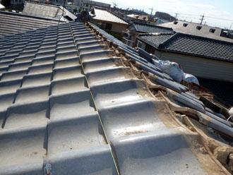 佐倉市 屋根 棟瓦取り直し 漆喰詰め直し 糸張り