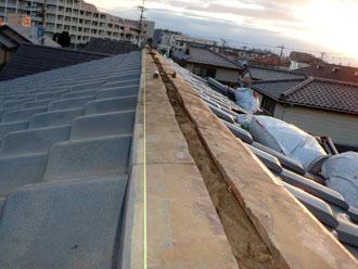 佐倉市 屋根 棟瓦取り直し 漆喰詰め直し 瓦の再設置