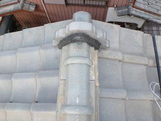 佐倉市 屋根 棟瓦取り直し 漆喰詰め直し 鬼瓦の漆喰の補修