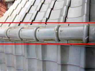 佐倉市 屋根 棟瓦取り直し 漆喰詰め直し 点検 棟部分の歪み