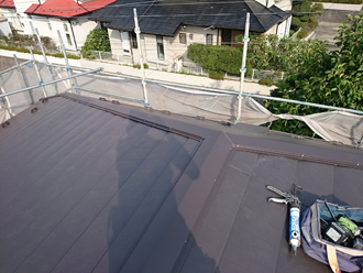 千葉県佐倉市 屋根カバー工法 室内塗装 棟板金設置