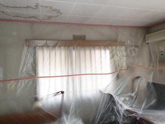 千葉県佐倉市 屋根カバー工法 室内塗装 養生完了