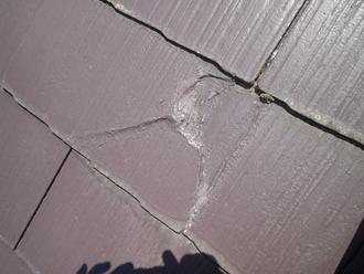 千葉県佐倉市 屋根カバー工法 室内塗装 点検 屋根 スレートの割れ