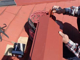 千葉県 千葉市中央区 棟板金交換 板金を裁断し、加工