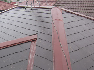 千葉市稲毛区 棟板金交換 屋根塗装 外壁塗装 屋根の高圧洗浄後