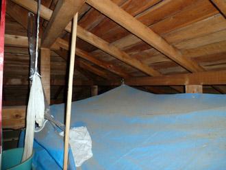 千葉市花見川区 雨漏り 屋根裏点検 応急処置 ブルーシート