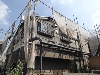 千葉県千葉市花見川区 屋根葺き替え 足場架設