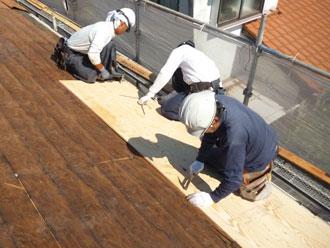 千葉市若葉区 屋根葺き替え 野地板増し張り