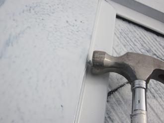 千葉県印旛郡酒々井町 屋根塗装 外壁塗装 塗装の様子 棟板金 釘 浮き