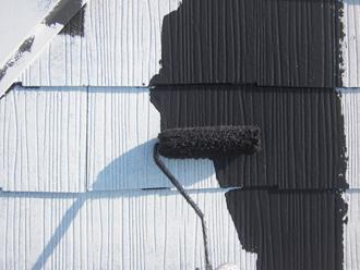 千葉県印旛郡酒々井町 屋根塗装 外壁塗装 塗装の様子 洗浄
