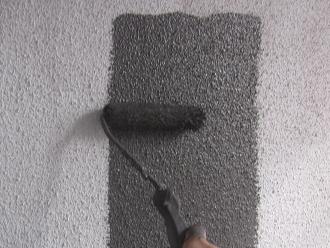 千葉県印旛郡酒々井町 屋根塗装 外壁塗装 点検の様子 外壁 中塗り グレー