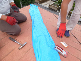 千葉県 大網白里市 屋根カバー工法 被災部分の養生