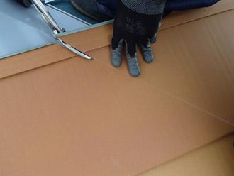 千葉県 大網白里市 屋根カバー工法 新しい屋根材の設置 横暖ルーフテラコッタの切削・加工