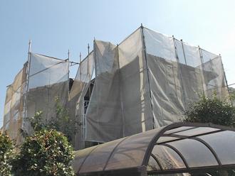 千葉県 市原市 屋根塗装 外壁塗装 足場の架設とメッシュシート設置