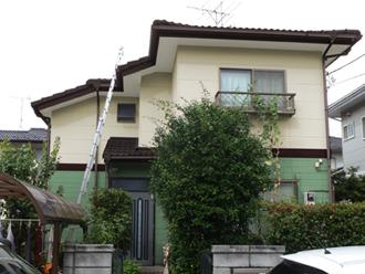 千葉県 市原市 カラーシミュレーション 屋根と庇がコーヒーブラウンで外壁がサーフグリーンとクリームホワイトのツートン
