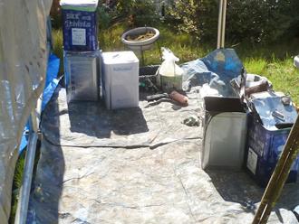 千葉県 市原市 外壁塗装 塗料を一時的に保管したり、攪拌(かくはん)させたりする場所