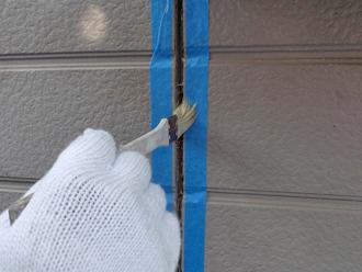 千葉県 市原市 外壁の目地補修 養生とプライマー塗布