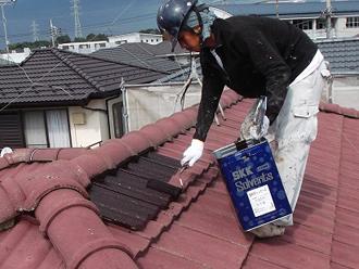 千葉県 市原市 屋根塗装 一回目の塗装