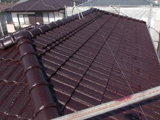 千葉県 市原市 屋根塗装 一回目の塗装完了