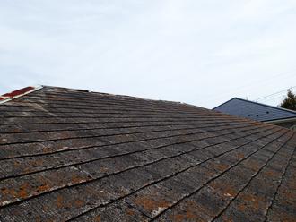 千葉県市原市 屋根の点検 スレートに生えた苔