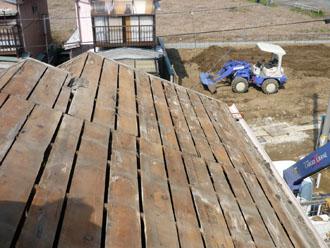木更津市 屋根葺き替え アールロック 野地板の劣化も確認