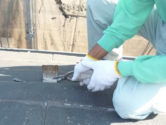 千葉市稲毛区 屋根カバー工事 雪止め金具取り外し