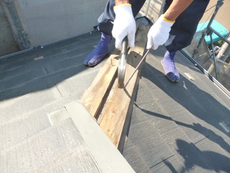 千葉市稲毛区 屋根カバー工事 貫板外し