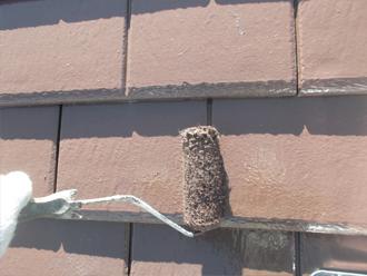 千葉県習志野市 屋根塗装 外壁塗装 塗装の様子 屋根 上塗り サーモアイ