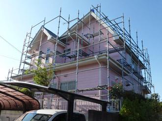 千葉県袖ヶ浦市 屋根塗装・外壁塗装 足場の架設