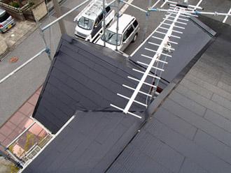 千葉県袖ヶ浦市 屋根塗装・外壁塗装 1階の屋根塗装完了