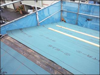 野田市 屋根カバー工事 防水紙設置