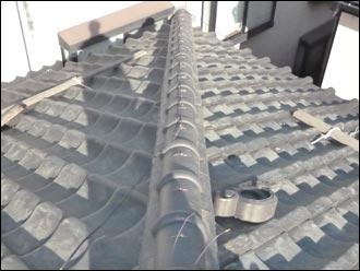 松戸市 漆喰取直し 銅線固定
