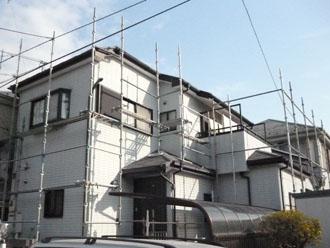 埼玉県 富士見市 屋根塗装 外壁塗装 バルコニー防水 足場の架設 正面斜め