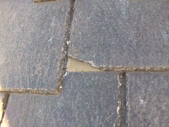 埼玉県 富士見市 屋根塗装 外壁塗装 バルコニー防水 点検 コロニアル(スレート、カラーベスト)の欠け