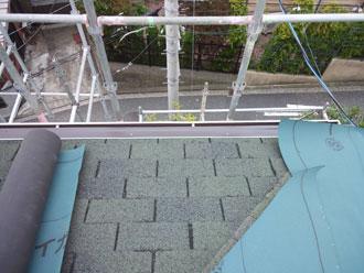 横浜市中区 屋根カバー 防水紙設置