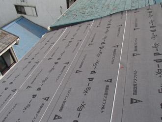 横浜市保土ケ谷区 屋根カバー工事 防水紙の敷設完了