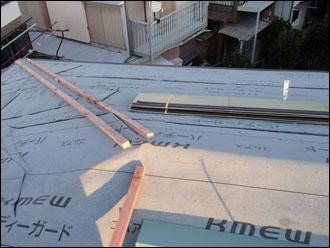 横浜市港南区 屋根カバー工事 防水紙設置
