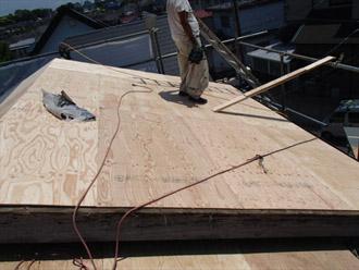 横浜市 鶴見区 屋根葺き替え 野地板の貼り増し
