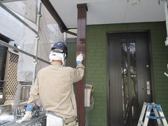 神奈川県横須賀市 屋根塗装 外壁塗装 玄関の支柱の塗装