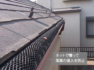 落葉除けネットで落葉の侵入防止
