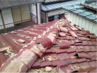 棟板金と屋根の隙間と釘の緩みをチェック