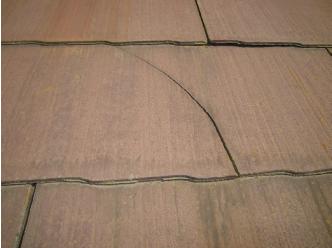 スレート材のヒビ、割れ、欠けをチェック