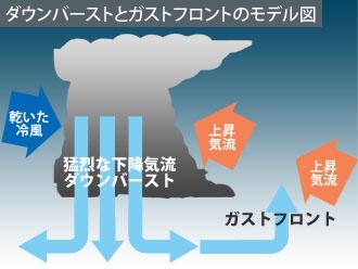 ダウンバーストとガスフロントのモデル図 出典は災害写真データベース http://www.saigaichousa-db-isad.jp/drsdb_photo/photoSearch.do