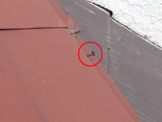 棟板金交換工事 棟板金の釘の浮き