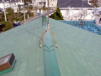 袖ヶ浦市 板金工事 強風で棟板金が飛散 施工後