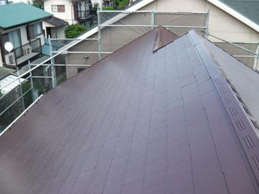 厚木市|ひび割れたスレート屋根を補修し、遮熱塗料のアレスクールSiで屋根塗装 施工後