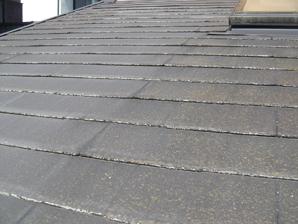 厚木市|ひび割れたスレート屋根を補修し、遮熱塗料のアレスクールSiで屋根塗装 施工前
