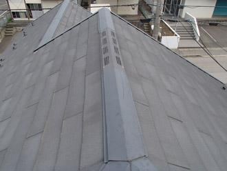 浦安市 屋根材の破片の補修と屋根塗装 遮熱塗料使用 施工前