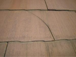 杉並区の屋根塗装前点検 スレート屋根 スレート屋根材の欠け